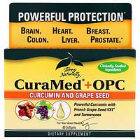 EuroPharma, Terry Naturally, CuraMed + OPC, куркумин и виноградная косточка, 60 мягких желатиновых капсул