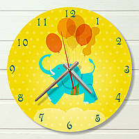 """Настенные часы в детскую - """"Слоник с шарами"""" (на пластике)"""