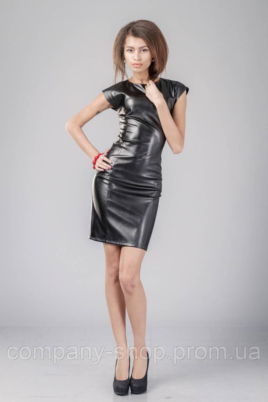 Платье кожаное черное с молнией по всей длине. Модель П062_черный.