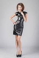 Платье кожаное черное с молнией по всей длине. Модель П062_черный., фото 1