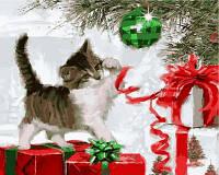 "VP788 ""Котенок с елочным шаром"" Раскраска по номерам на холсте 40х50см"