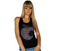 """Майка женская """"Apple"""" рубчик со стразами 42-44 (универсальный), черный"""