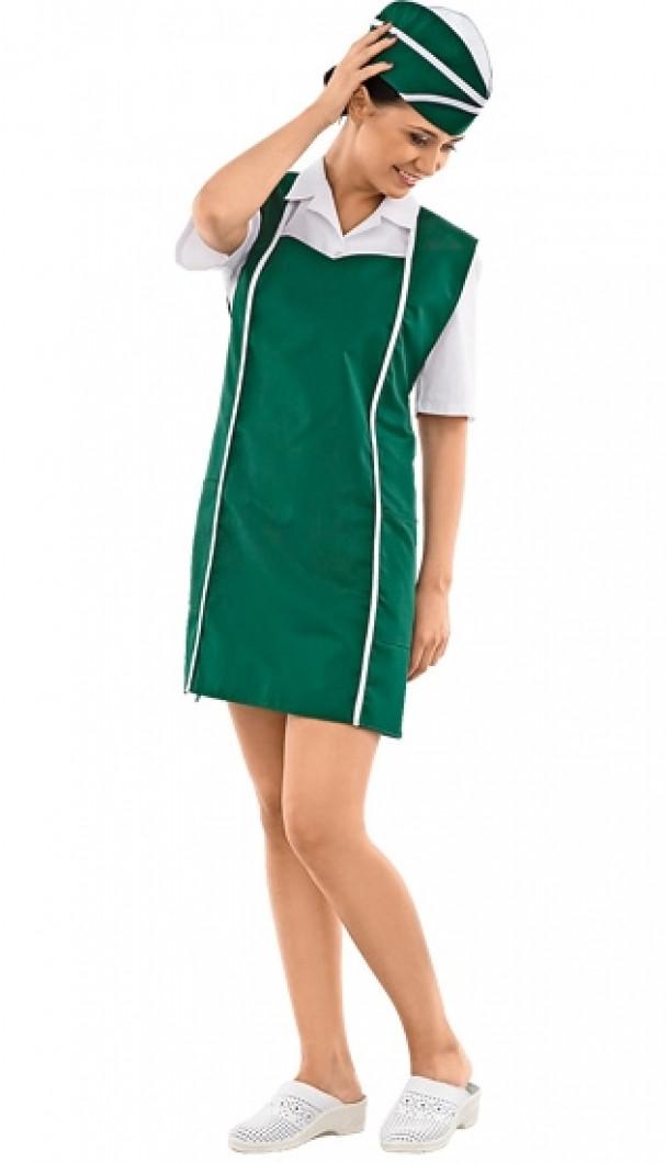 Зеленый комплект из длинного фартука и шапочки для продавцов и промоутеров