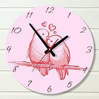 """Настенные часы в детскую - """"Влюбленные птички"""" (на пластике)"""