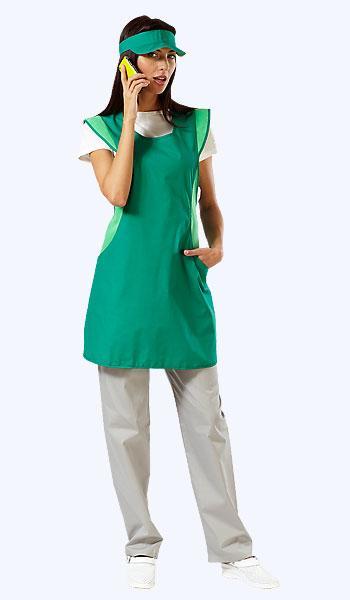 Зеленый комплект для продавцов и промоутеров из длинного фартука и козырька под заказ