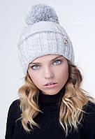 Вязаная шапка женская с помпоном ПАУЛЬ