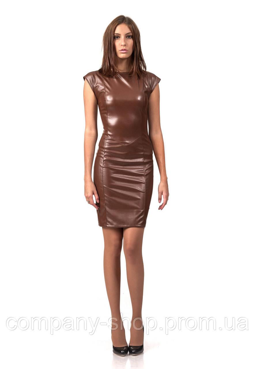 Платье кожаное черное с молнией по всей длине. Модель П062_коричневый.
