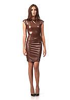 Платье кожаное черное с молнией по всей длине. Модель П062_коричневый., фото 1