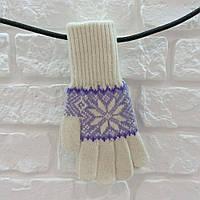 Перчатки из шерсти белый, фото 1
