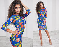 Стильно платье (48-52) миди принт: цветы на синем