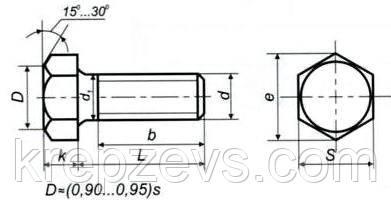 Схема габаритных размеров высокопрочного болта ГОСТ Р 52644-2006