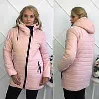 """Зимняя женская теплая куртка на молнии с капюшоном """"Polaris"""" цвет пудра : 46-54 размеры"""