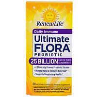 Renew Life, Лучший растительный пробиотик, ежедневный иммунитет 25 миллиардов, 30 вегетарианских капсул