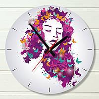 """Часы настенные - """"Девушка в бабочках (розовая)"""" (на пластике)"""