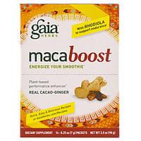 Gaia Herbs, MacaBoost, Настоящее какао и имбирь, 14 пакетов, 0,25 унции (7 г) в каждом