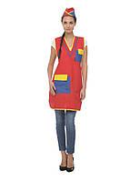 Красная униформа с желтыми и голубыми вставками для промоутеров и продавцов