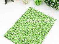 Отрез ситца для рукоделия зеленый в мелкий цветочек