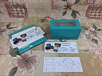 Коробка Бирюзовая для 2-ух кексов, маффинов с окном 170*85*90 , фото 1