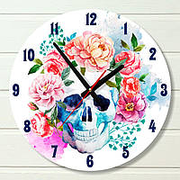 """Часы настенные - """"Цветочный череп"""" (на пластике)"""
