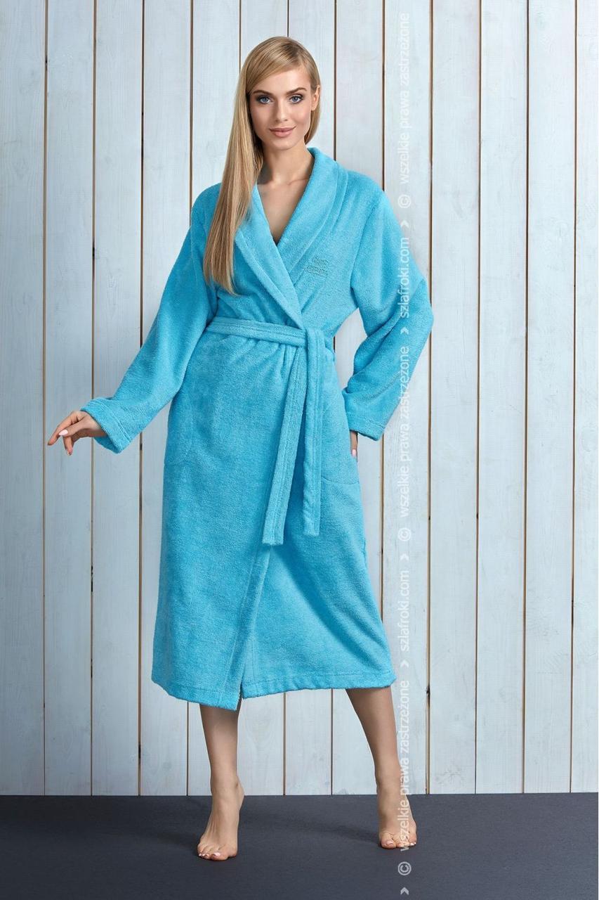 Бамбуковий довгий жіночий халат у бірюзовому кольорі з поясом L&L TRACY dl