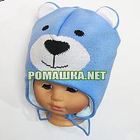 Детская зимняя вязаная термо шапочка р. 46 с завязками 3902 Голубой