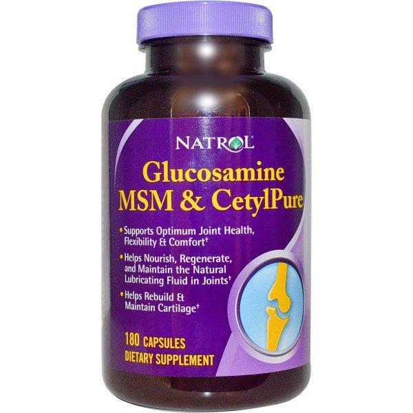 Natrol, Глюкозамин, MSM и CetylPure, 180 капсул