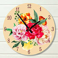 "Часы настенные - ""Пионы"" (на пластике)"