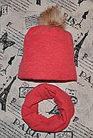 Комплект подростковый: вязаная шапка на флисе и хомут