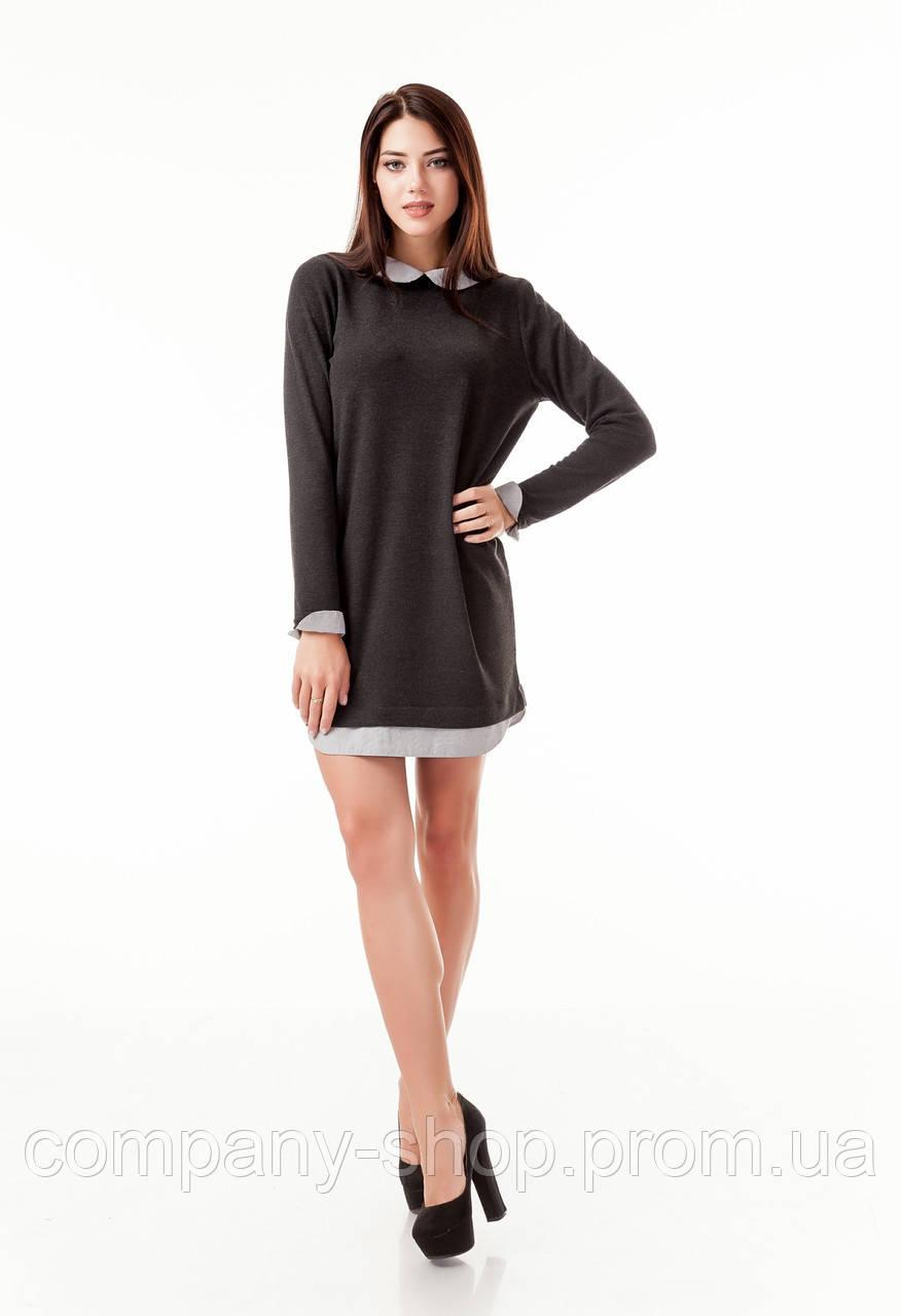 Платье комбинированное из ангоры с рубашкой-обманкой. Модель П101_темно-серая резинка.