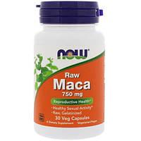 Now Foods, Необработанная мака, 750 мг, 30 вегетарианских капсул
