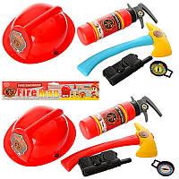 Детский набор пожарника 9212-6, каска 24см, топор, огнетушитель, 2 цвета, в кульке, 29-35-9см