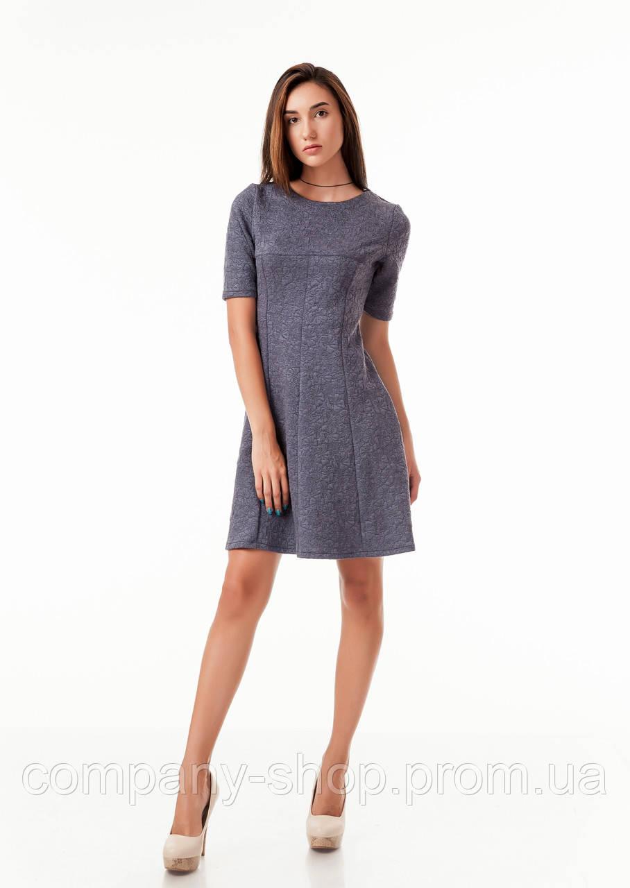 Женское платье клиньями серое в цветочек. Модель П081_темно-серый цветочек.
