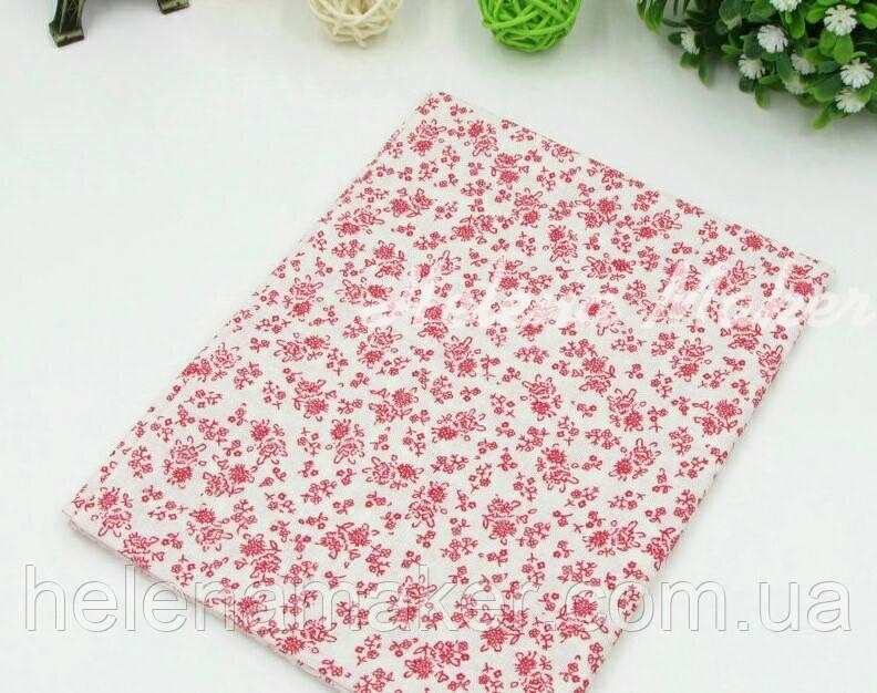 Отрез ситца для рукоделия белый в красный цветочный узор