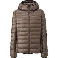 Женская бежевая легкая куртка на пуху с капюшоном  ultra light down осень/весна Uniqlo (пакуется в мешочек), фото 1