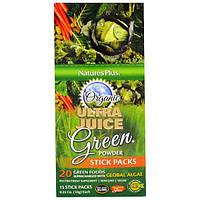 Nature's Plus, Органический Зеленый Порошок Ultra Juice в Упаковке из Бумажных Трубок, 15 Трубок,  0,35 унций (10 г) каждая