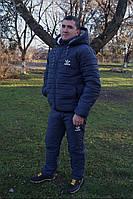 Cпортивный мужской зимний костюм adidas на синтепоне и овчинке