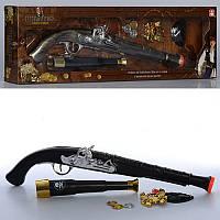 Детский игрушечныйнабор пирата 222-222-1, пистолет 41см, подз.труба 19,5см, монеты, эмблема, 2 вид, в кор-ке