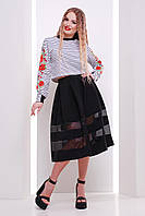Модный короткий женский полосатый свитшот с розами Вышивка-полоска кофта №1 кор. (весна) д/р