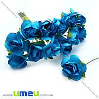 Роза бумажная, 15 мм, Голубая, 1 шт (DIF-006747)