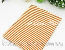 Отрез ситца для рукоделия оранжевый в белую полоску 2 мм