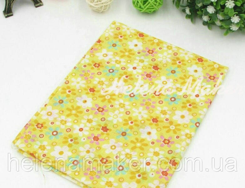 Отрез ситца для рукоделия желтый в разноцветные цветы