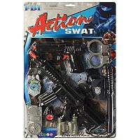 Детский наборполицейского 2278,автомат, пистолет, дубинка, наручники, значок, на листе, 38-57-4см