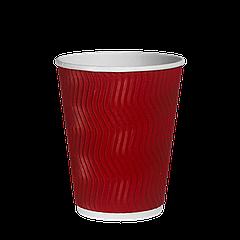 Стакан бумажный гофрированный Красный волна 340мл. 20шт/уп (1ящ/28уп/560шт) (КР80)