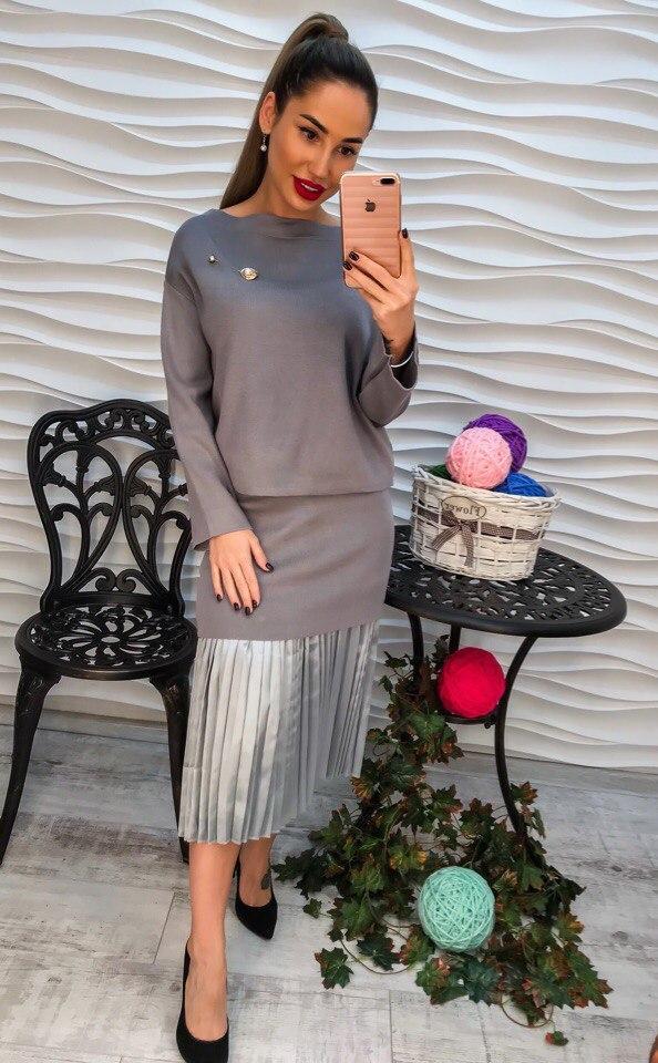 ad0247a1bc0 Женский вязаный костюм юбка с плиссировкой и кофта : продажа, цена в ...
