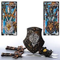 Детский игрушечный набор рыцаря 222-6-6A-7, меч 2шт, 49см, щит, доспехи, 3 вида, на листе, 29-63-3см