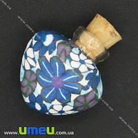 Стеклянная баночка с полимерной глиной Сердце, Синяя, 24х22 мм, 1 шт. (DIF-006776)