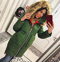 Женская зимняя куртка  на молнии с капюшоном, в расцветках