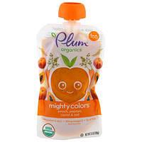 Plum Organics, Tots, Mighty Colors, Оранжевый, Персик, Папайя, морковь и овес, 3,5 унции (99 г)