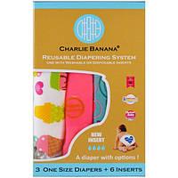 Charlie Banana, Многоразовые подгузники, универсальный размер, для девочки, 3 подгузника + 6 вкладышей