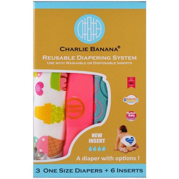 Charlie Banana, Многоразовые подгузники, универсальный размер, для девочки,  3 подгузника + 6 c86b6ae8db2